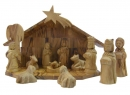 #10002 Olive Wood Nativity Set With Grotto