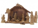 #10003 Olive Wood Nativity Set With Grotto