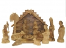 #10005 Olive Wood Persian Nativity Set With Grotto