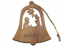 #50009 Olive Wood Christmass Bell Ornaemnt
