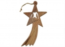 #50016 Olive Wood Nativity Falling star Ornament