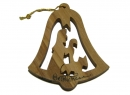 #50032 Olive Wood Shephered With The Sheep Bell Ornament