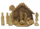 #10004 Olive Wood Nativity Set With Grotto