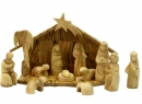#10007 Olive Wood Modern Nativity Set With Grotto