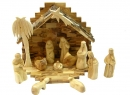 #10008 Olive Wood Nativity Set With Grotto