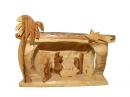 #10022 Olive Wood Simple Nativity Set Inside Cave