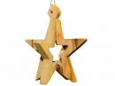 #10025 Olive Wood 3D Plain Star