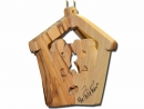 #10027 Olive Wood Nativity House 3D Ornament