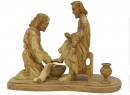 #30009 Olive Wood Jesus Washing The Feet Of Peter