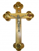 #40004 Olive Wood Cross With Elements From the Holy Land