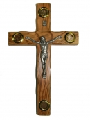 #40005 Olive Wood Cross With Crucifix And Elements From The Holy