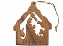 #50002 Olive Wood Nativity House Ornament