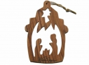 #50003 Olive Wood Nativity House Ornament