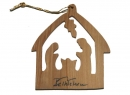 #50006 Olive Wood Nativity House Ornament