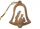 #50010 Olive Wood Nativity Bell Ornament