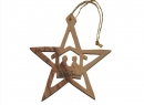 #50011 Olive Wood Nativity star Ornament