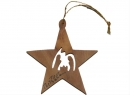#50013 Olive Wood Simple Nativity Star Ornament