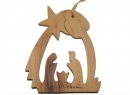 #50017 Olive Wood Nativity House Ornament