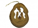 #50027 Olive Wood Nativity In Bark Ornament