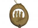 #50029 Olive Wood The Three Kings In Bark Ornament