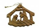 #50033 Olive Wood Nativity In Cave Ornament