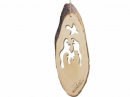 #50049 Olive Wood Nativity In Bark Ornament