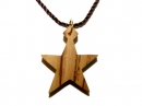 #55019 Olive Wood Star Of Bethlehem Pendant