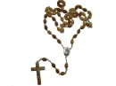 #80003 Olive Wood Carved Oval Beads Rosary