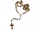 #80004 Olive Wood Carved Round Beads Rosary